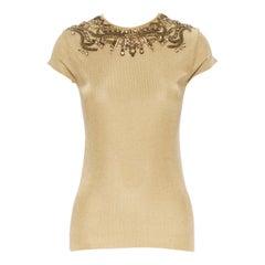 RALPH LAUREN PURPLE LABEL gold jewel crystal bead embellished cap sleeve top S