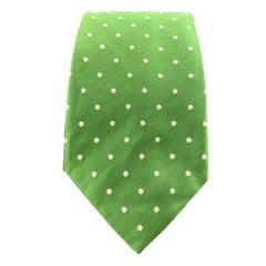 RALPH LAUREN Purple Label Green Polka Dot Silk Tie