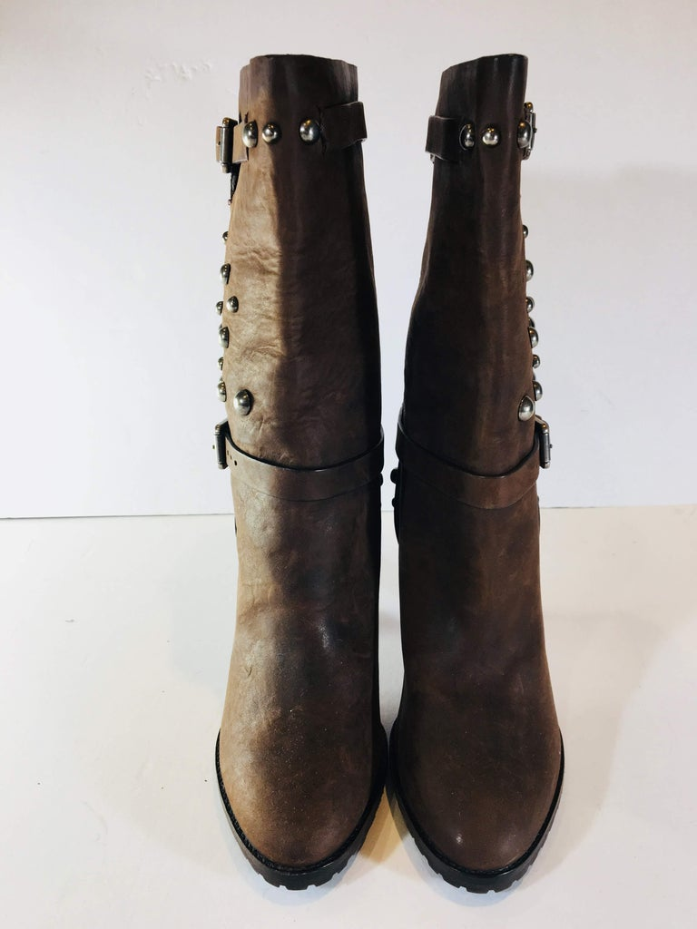 Ralph Lauren Purple Label Size 8 Brown Leather High Heel Mid Calf Studded Boots