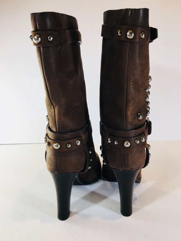 Ralph Lauren Purple Label Mid Calf Boots  In Good Condition For Sale In Southampton, NY
