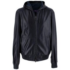 Ralph Lauren Purple Label Navy Leather Hooded Jacket  L