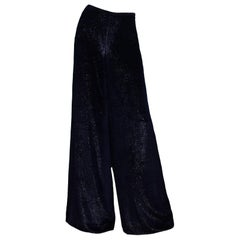 Ralph Lauren Purple Label Navy Wide Leg Velvet Sparkle Pants Sz 2