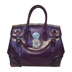 Ralph Lauren Purple Label Purple Python Snakeskin Ricky Bag Tote