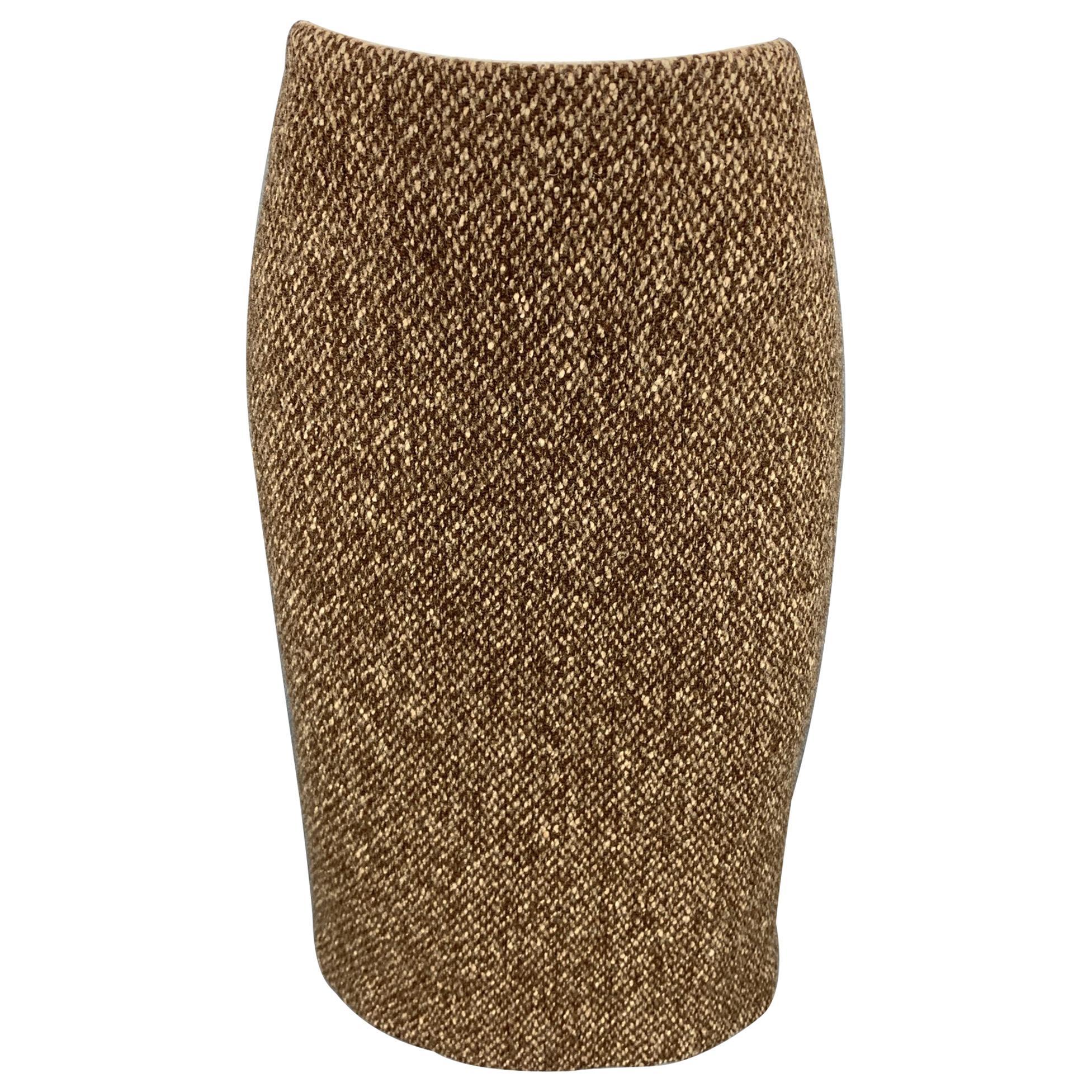 RALPH LAUREN Purple Label Size 4 Brown Tweed Wool / Cashmere A-Line Skirt