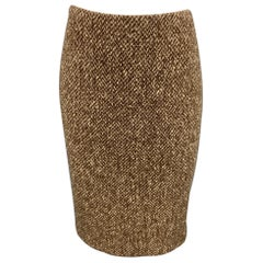 RALPH LAUREN Purple Label Size 4 Brown Tweed Wool / Cashmere A-Line Skirt