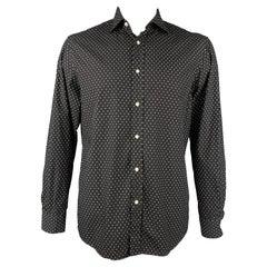 RALPH LAUREN Purple Label Size L Black & White Dots Cotton Button Up Shirt