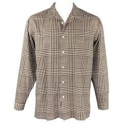 RALPH LAUREN Purple Label Size L White & Brown Houndstooth Cotton Shirt