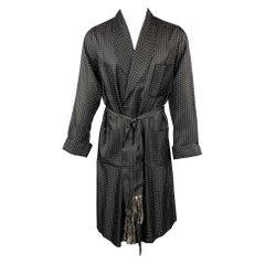 RALPH LAUREN Purple Label Size S Black & White Polka Dot Silk Shawl Collar Robe