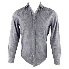 RALPH LAUREN Purple Label Size S Navy & White Houndstooth Cotton Shirt