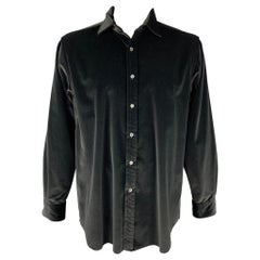 RALPH LAUREN Purple Label Size XL Black Cotton Velvet Button Up Shirt