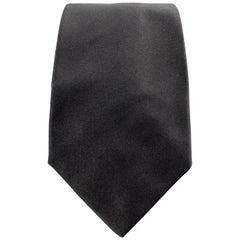 RALPH LAUREN Purple Label Solid Black Silk Satin Tie