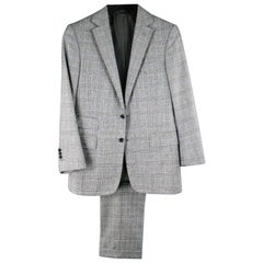 RALPH LAUREN Purple Label Suit - Short Gray Glenplaid Wool / Cashmere
