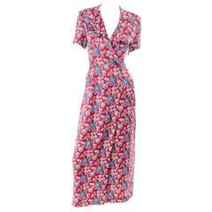 Ralph Lauren Purple Label Vintage Red Silk Ruffled Wrap Dress W/ Blue Flowers