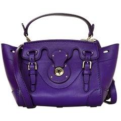 Ralph Lauren Purple Leather Mini Rickie Crossbody Bag w. Dust Bag