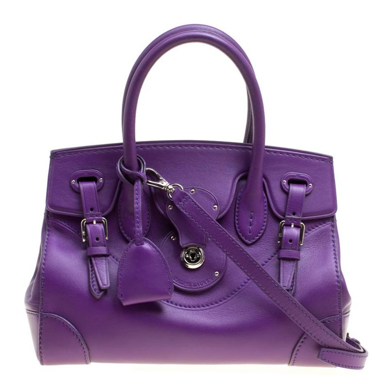 cda78f9c4dab Ralph Lauren Purple Soft Leather Ricky 27 Top Handle Bag at 1stdibs