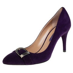 Ralph Lauren Purple Suede Buckle Embellished Pumps Size 38