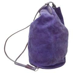 Ralph Lauren Purple Suede Lizard-Trimmed Backpack