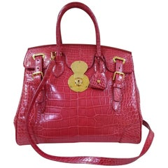 Ralph Lauren Red Alligator Ricky Bag