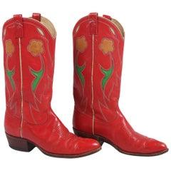 Ralph Lauren Red Leather Cowboy Boots w/Floral Motif 1980's