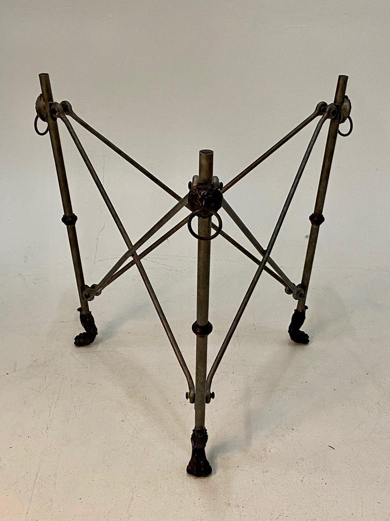 Late 20th Century Ralph Lauren Regency Style Iron & Glass Round Side Table Gueridon For Sale