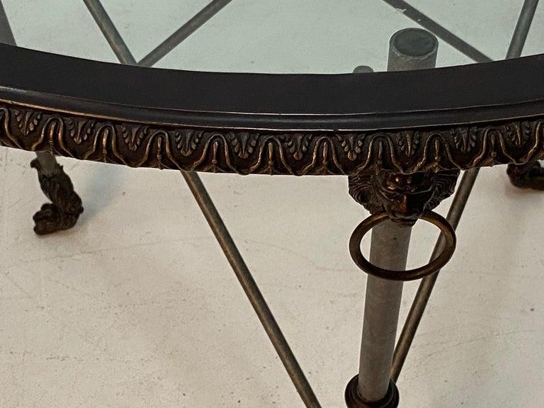 Ralph Lauren Regency Style Iron & Glass Round Side Table Gueridon For Sale 2