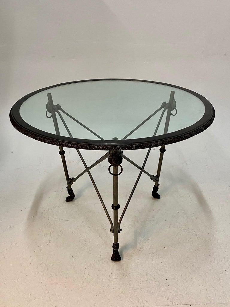 Ralph Lauren Regency Style Iron & Glass Round Side Table Gueridon For Sale 3