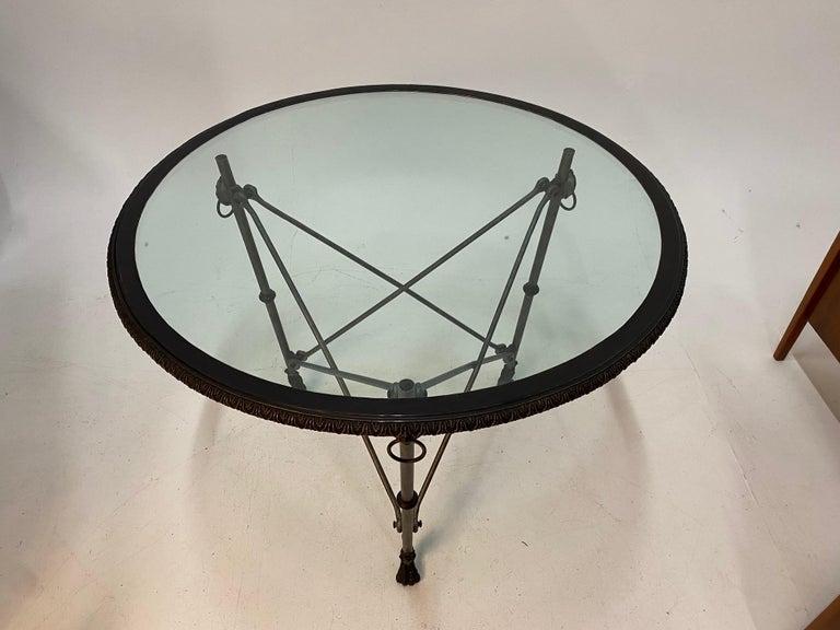 Ralph Lauren Regency Style Iron & Glass Round Side Table Gueridon For Sale 4