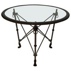 Ralph Lauren Regency Style Iron & Glass Round Side Table Gueridon