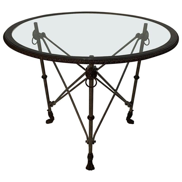 Ralph Lauren Regency Style Iron & Glass Round Side Table Gueridon For Sale