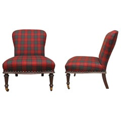 Ralph Lauren Round-Back Slipper Chair, Mahogany Bade, Antiqued Brass, Red Plaid