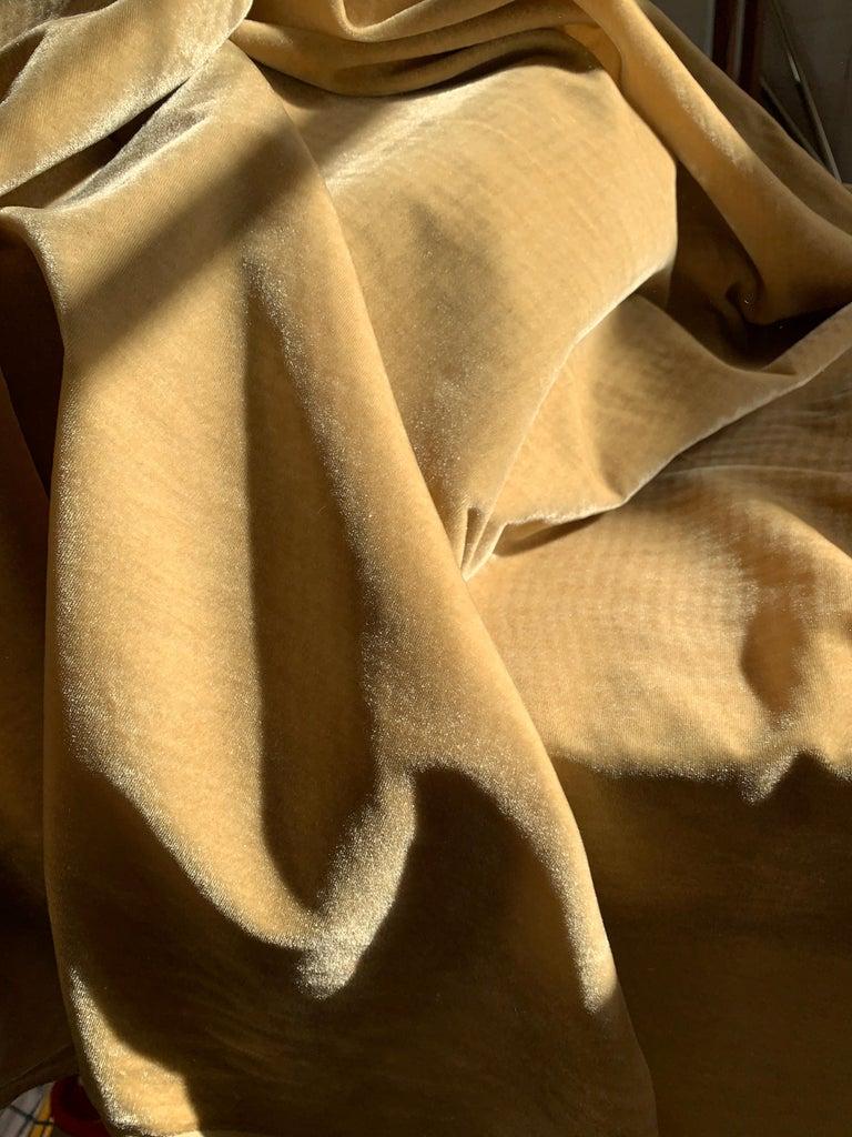Modern Ralph Lauren Royal Silk Velvet, Golden Tan, Cream Beige, Made in Italy For Sale