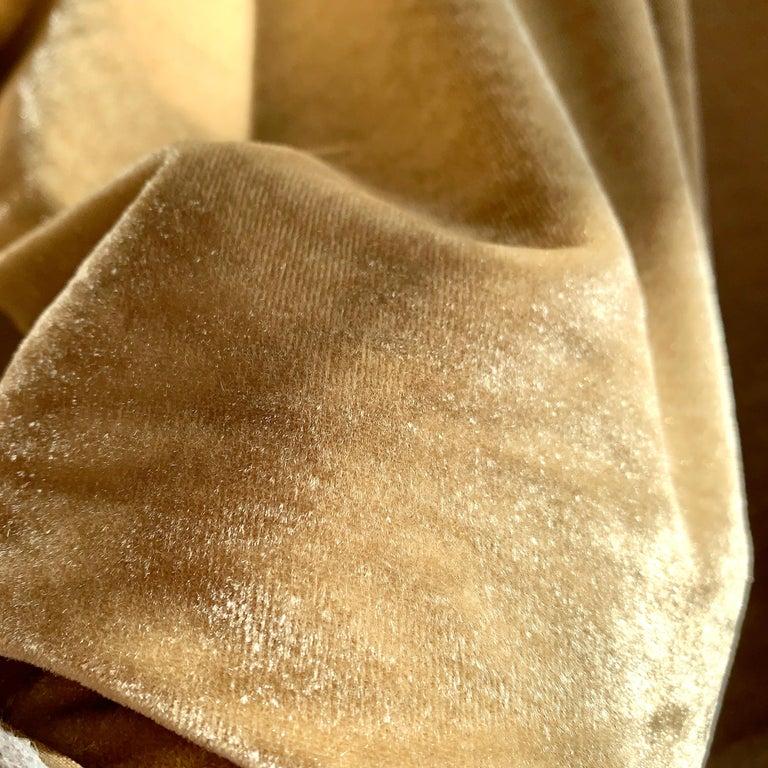 Contemporary Ralph Lauren Royal Silk Velvet, Golden Tan, Cream Beige, Made in Italy For Sale