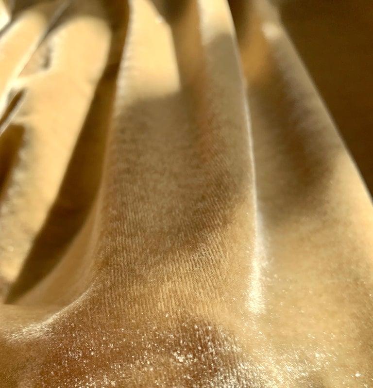 Ralph Lauren Royal Silk Velvet, Golden Tan, Cream Beige, Made in Italy For Sale 1