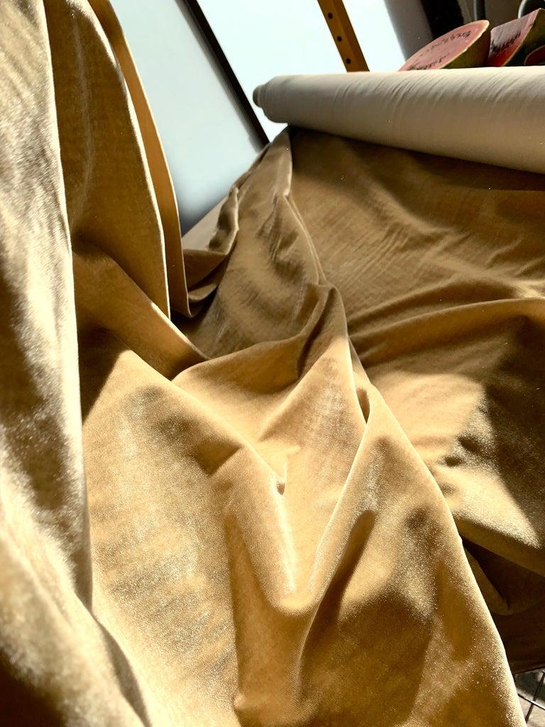Ralph Lauren Royal Silk Velvet, Golden Tan, Cream Beige, Made in Italy For Sale 2