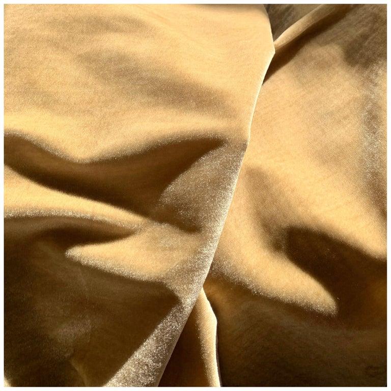 Ralph Lauren Royal Silk Velvet, Golden Tan, Cream Beige, Made in Italy For Sale