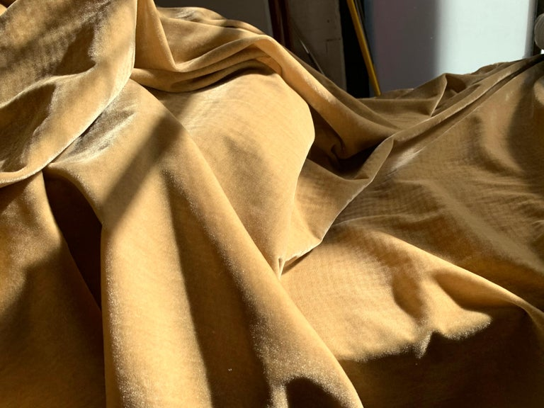 Ralph Lauren royal silk velvet, golden tan, cream beige, made in Italy. This listing is for 6-3/8 yards by 54 inches wide of this exceptional quality velvet from Ralph Lauren. Decadent 100. Percent silk velvet in solid color of barley to creamy
