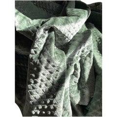 Ralph Lauren Royal Silk Velvet Silver-Sage Green Custom Matelassé, Italy