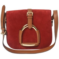 Ralph Lauren Runway Equestrian Stirrup Red Suede Brown Leather Shoulder Bag