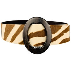 RALPH LAUREN S Brown & Cream Zebra Print Horsehair Belt