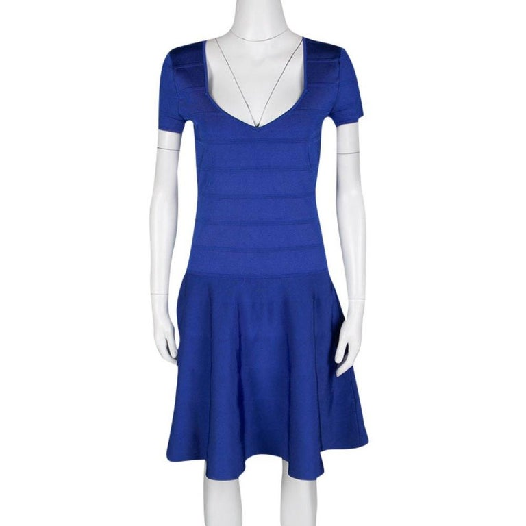 Ralph Lauren Sapphire Blue Short Sleeve Bandage Skater Dress L In New Condition For Sale In Dubai, Al Qouz 2