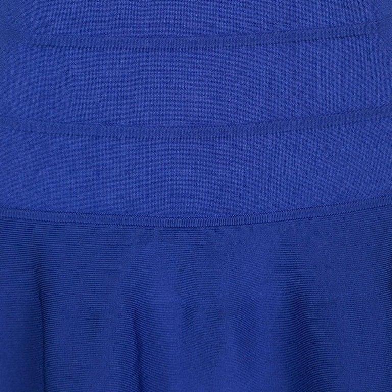 Women's Ralph Lauren Sapphire Blue Short Sleeve Bandage Skater Dress L For Sale