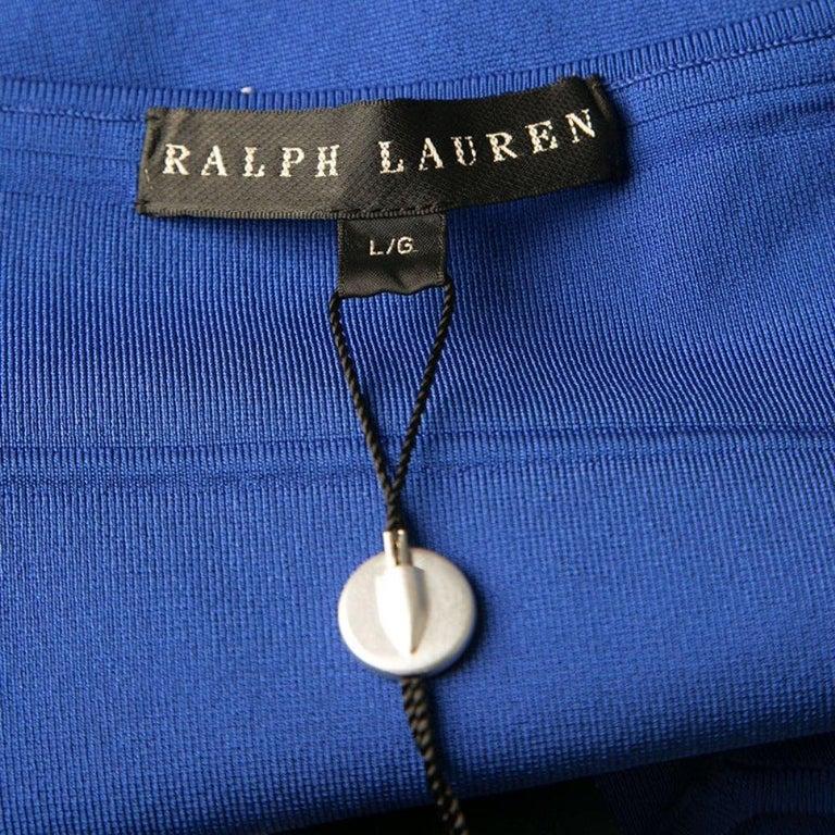 Ralph Lauren Sapphire Blue Short Sleeve Bandage Skater Dress L For Sale 1