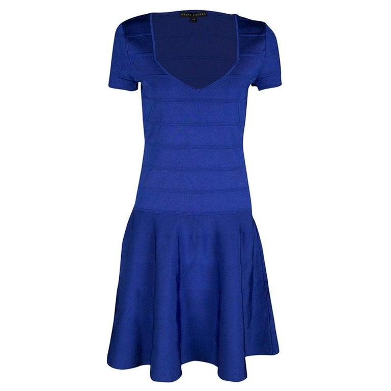Ralph Lauren Sapphire Blue Short Sleeve Bandage Skater Dress L For Sale