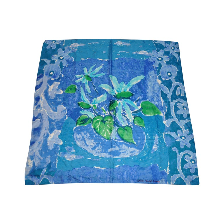 "Ralph Lauren ""Shades of Turquoise & Blue Monet"" Abstract Silk  Jacquard Scarf For Sale"