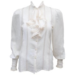 Ralph Lauren Silk & Cotton Jacquard Ruffled Lace Blouse, 1970's