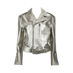 Ralph Lauren Silver Leather Motorcycle Jacket