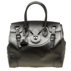 Ralph Lauren Silver Metallic Soft Leather Ricky 33 Top Handle Bag