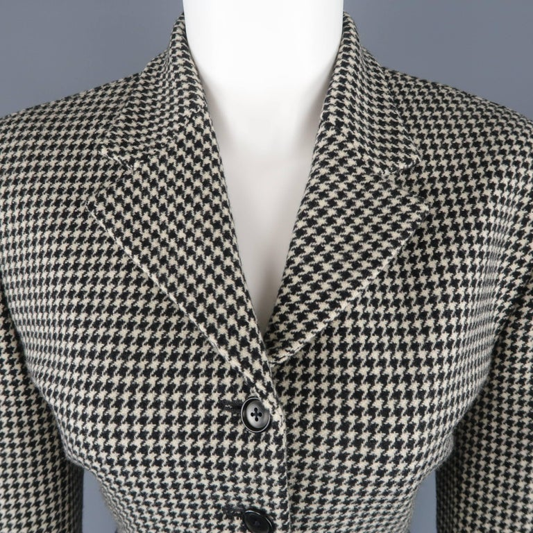 RALPH LAUREN COLLECTION jacket comes in cream and black houndstooth wool cashmere blend fabric with a notch lapel, padded shoulder, four button front, and cropped silhouette. Mad in USA.   Excellent Pre-Owned Condition. Marked: 10   Measurements:
