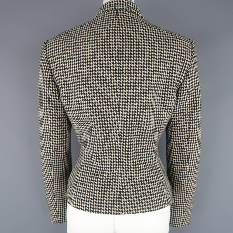 Ralph Lauren Cream and Black Houndstooth Wool / Cashmere Cropped Jacket For Sale 1