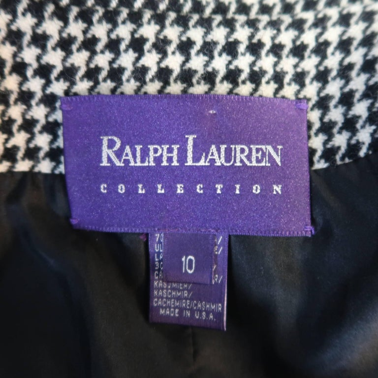 Ralph Lauren Cream and Black Houndstooth Wool / Cashmere Cropped Jacket For Sale 3